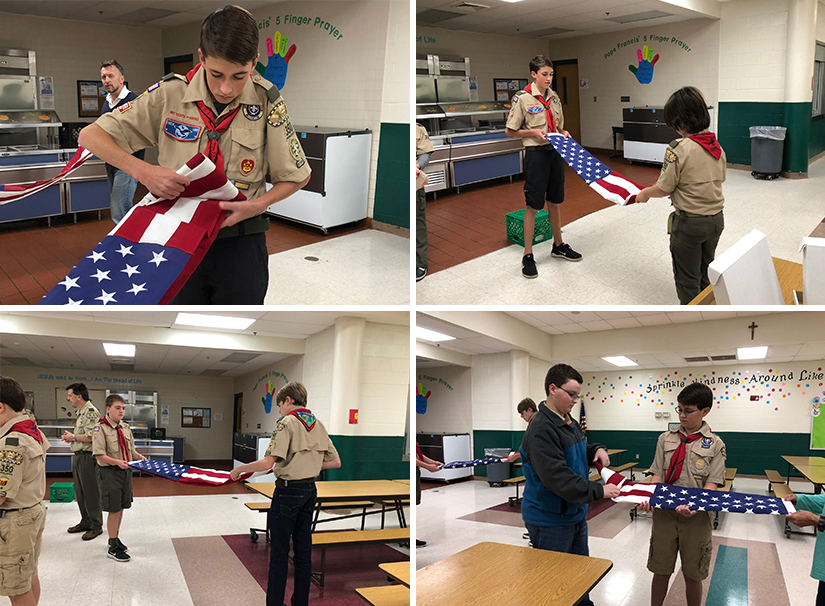 scout flag folding - collage